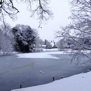 snowy pond from farm end
